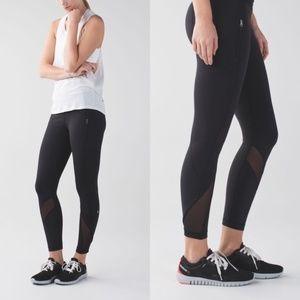 Lululemon Run Inspire Tight Black Mesh Size 6